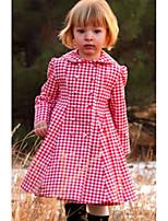 Недорогие -Дети Девочки Активный Шахматка Длинный рукав До колена Платье Красный