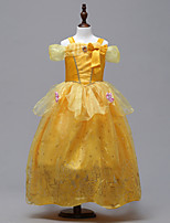 cheap -Belle Dress Masquerade Flower Girl Dress Girls' Movie Cosplay A-Line Slip Cosplay Halloween Yellow Dress Halloween Carnival Masquerade Tulle Polyster
