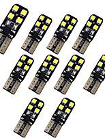Недорогие -10шт t10 w5w автомобильные лампочки 1w smd 3030 8led dc12v-24v огни номерного знака / рабочие фары / задние фонари для универсального белого света