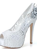 cheap -Women's Wedding Shoes Stiletto Heel Peep Toe Minimalism Sweet Wedding Party & Evening Lace Rhinestone Bowknot Braided White Black Pink