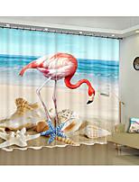 Недорогие -3D принт 3D-шторы 2 шторы Занавес