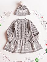 Недорогие -Дети Девочки Симпатичные Стиль Мультипликация Платье Серый