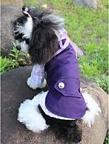 Недорогие -Собаки Коты Животные Костюм Одежда для собак Однотонный Горошек и клетка Лиловый Полиэстер Костюм Назначение Лето Классика