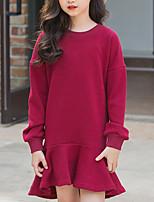 Недорогие -Дети Девочки Симпатичные Стиль Уличный стиль Однотонный Длинный рукав Ассиметричное Платье Винный