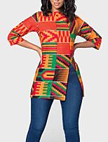 Недорогие -Жен. Пэчворк / С принтом Блуза Классический / Богемный Геометрический принт / Контрастных цветов Оранжевый