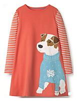 Недорогие -Дети Девочки Симпатичные Стиль Животное Платье Оранжевый