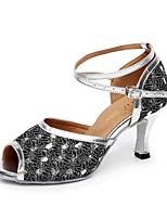 Недорогие -Жен. Танцевальная обувь Синтетика Обувь для латины Блеск На каблуках Толстая каблук Персонализируемая Серебряный