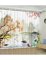 Недорогие -Китайский стиль современная живопись маслом охрана окружающей среды цифровая печать 3d шторка фестиваль занавес занавес высокой точности черный шелк ткань высокого качества класс одна тень спальня