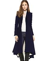 Недорогие -Жен. Повседневные Длинная Пальто, Однотонный Лацкан с тупым углом Длинный рукав Полиэстер Черный / Темно синий