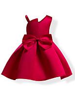 Недорогие -Дети Дети (1-4 лет) Девочки Активный Милая Однотонный Бант Без рукавов До колена Платье Синий