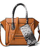 cheap -Women's Zipper PU Bag Set Color Block 2 Pieces Purse Set Black / Brown / Red / Snakeskin