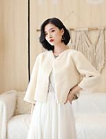 cheap -Long Sleeve Shrugs / Coats / Jackets Fauxfur Wedding / Party / Evening Shawl & Wrap / Women's Wrap / Women's Scarves With Buckle