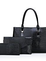 cheap -Women's Zipper PU Bag Set Solid Color 3 Pcs Purse Set Black / Brown / Red / Snakeskin