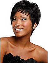 cheap -Human Hair Capless Wigs Human Hair Straight / Natural Straight Bob / Pixie Cut / Layered Haircut / Asymmetrical Style Cool / Fashion / Comfortable Black / White Short Capless Wig Women's / All