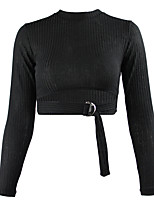 cheap -Women's Daily Blouse - Solid Colored Black