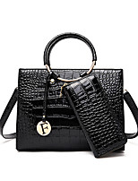cheap -Women's Zipper PU Bag Set Solid Color 2 Pieces Purse Set Black / Brown / Red
