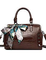 cheap -Women's Bow(s) / Zipper PU Top Handle Bag Solid Color Black / Brown / Purple
