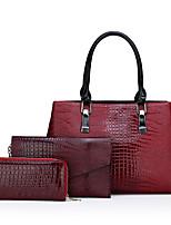 cheap -Women's Zipper PU Bag Set Bag Sets Solid Color 3 Pcs Purse Set Black / Red / Brown / Fall & Winter