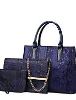 cheap -Women's Zipper PU Bag Set Bag Sets Solid Color 3 Pcs Purse Set Black / Blue / Red / Fall & Winter