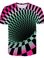 cheap -Kids Boys' Basic Street chic Color Block 3D Check Print Short Sleeve Tee Rainbow