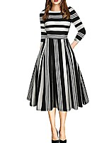 cheap -Women's Daily Wear Street chic Elegant A Line Dress - Striped Color Block Patchwork Print Black S M L XL