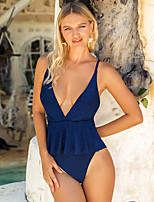 cheap -Women's Basic Boho Blue Triangle Cheeky One-piece Swimwear - Solid Colored Peplum Backless S M L Blue