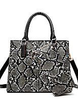 cheap -Women's Zipper PU Bag Set Color Block 2 Pieces Purse Set Blushing Pink / Gray / Khaki / Snakeskin