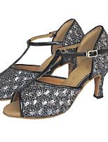 cheap -Women's Dance Shoes Latin Shoes Heel Glitter Flared Heel Customizable Black / Silver