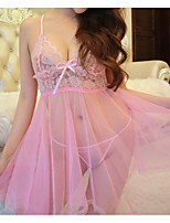 cheap -Women's Lace / Backless / Cut Out Suits Nightwear Jacquard / Solid Colored Purple Blushing Pink Fuchsia One-Size