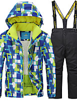 cheap -Boys' Girls' Ski Jacket Ski / Snow Pants Skiing Camping / Hiking Winter Sports Waterproof Windproof Warm Polyester Warm Top Warm Pants Clothing Suit Ski Wear / Kids
