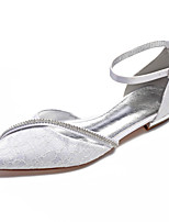 cheap -Women's Wedding Shoes Flat Heel Pointed Toe Classic Sweet Wedding Party & Evening Satin Rhinestone Solid Colored White Ivory