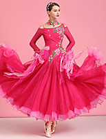 cheap -Ballroom Dance Dresses Women's Performance Spandex / Organza / Tulle Appliques / Crystals / Rhinestones Long Sleeve High Dress / Neckwear
