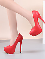 cheap -Women's Heels Stiletto Heel Round Toe PU Business / Vintage Spring &  Fall / Spring & Summer Black / White / Red / Party & Evening