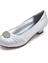 cheap -Girls' Heels Flower Girl Shoes Satin Little Kids(4-7ys) Big Kids(7years +) Party & Evening Rhinestone White Ivory Spring / Rubber