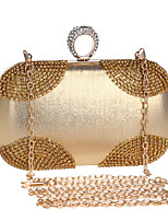 cheap -Women's Crystals / Chain Polyester / Alloy Evening Bag Color Block Black / Gold / Silver