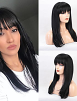 cheap -Human Hair Capless Wigs Human Hair Straight / Natural Straight Neat Bang / With Bangs Style Fashion / Comfortable / African American Wig Black / White Long Capless Wig Women's / All