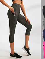 cheap -YUERLIAN Women's High Rise Running Tights Running 3/4 Capri Pants with Side Pocket Elastane Sports 3/4 Tights Running Fitness Jogging Moisture Wicking Compression Butt Lift Solid Color Black Fuchsia