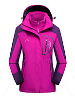 cheap -Men's Hiking Jacket Winter Outdoor Solid Color Waterproof Quick Dry Warm Shockproof 3-in-1 Jacket Winter Jacket Single Slider Hunting Ski / Snowboard Camping / Hiking / Caving Purple Red Rose Red