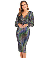cheap -Diva Retro Vintage 1980s Dress Women's Sequins Sequin Costume Rainbow Vintage Cosplay Party / Evening Short Sleeve