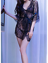 cheap -Women's Lace / Backless / Cut Out Suits Nightwear Jacquard / Solid Colored White Black One-Size
