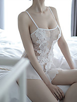 cheap -Women's Lace / Backless / Cut Out Suits Nightwear Jacquard / Solid Colored White Black Beige One-Size
