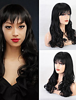cheap -Human Hair Capless Wigs Human Hair Curly / Deep Curly Neat Bang / With Bangs Style Soft / Fashion / Comfortable Black Long Capless Wig Women's / All / African American Wig