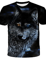 cheap -Children Summer T shirt Men Streetwear Round Neck Tees Tops Funny Animal Male Clothes Casual Wolf 3D Print Tshirt
