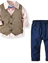 cheap -Kids Boys' Basic Christmas Home Color Block Print Sleeveless Long Sleeve Regular Regular Clothing Set White