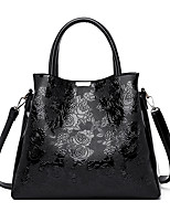 cheap -Women's Zipper / Embossed PU Top Handle Bag Solid Color Black / Purple / Blue