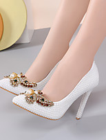 cheap -Women's Wedding Shoes Stiletto Heel Pointed Toe Bowknot / Imitation Pearl / Sparkling Glitter Lace / PU Vintage / Minimalism Spring &  Fall / Spring & Summer White / Party & Evening