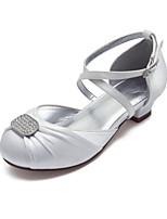 cheap -Girls' Heels Flower Girl Shoes Satin Little Kids(4-7ys) Big Kids(7years +) Party & Evening Rhinestone White Ivory Spring Summer / Rubber