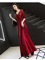 cheap -A-Line V Neck Floor Length Satin / Sequined Sparkle / Elegant Prom / Formal Evening / Wedding Guest Dress 2020 with