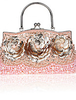 cheap -Women's Beading / Embroidery Synthetic Evening Bag Solid Color Blushing Pink / Red / Gold