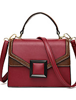 cheap -Women's Buttons PU Top Handle Bag Solid Color Black / Brown / Red